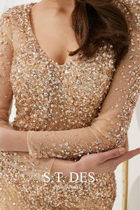 Image 5 - Prom Dresses 2020 Summer S.T.DES Hot Gorgeous Golden Illusion Full Sequins Beaded Mermaid Long Sleeves Long Evening Dress