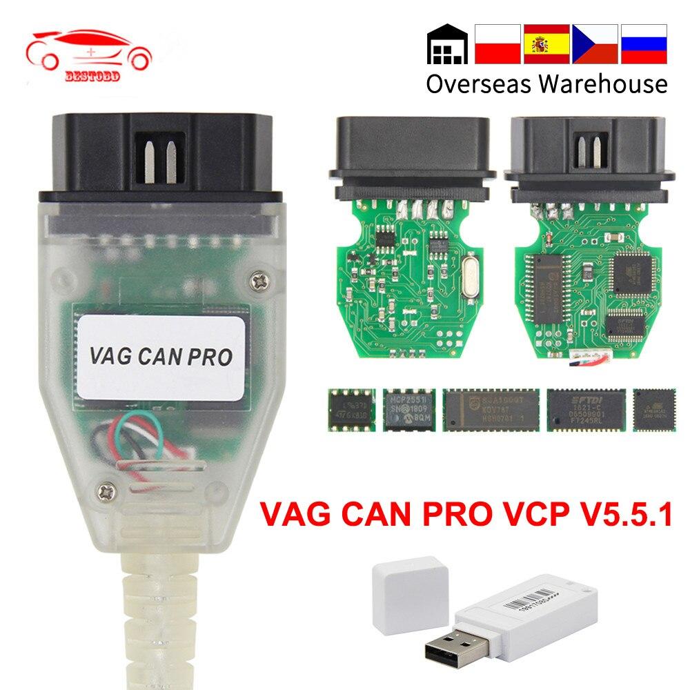 O vag pode pro v5.5.1 com a microplaqueta vcp da microplaqueta de ftdi ft245rl obd2 cabo de usb da relação diagnóstica suporte pode bus uds k linha trabalha para audi/vw