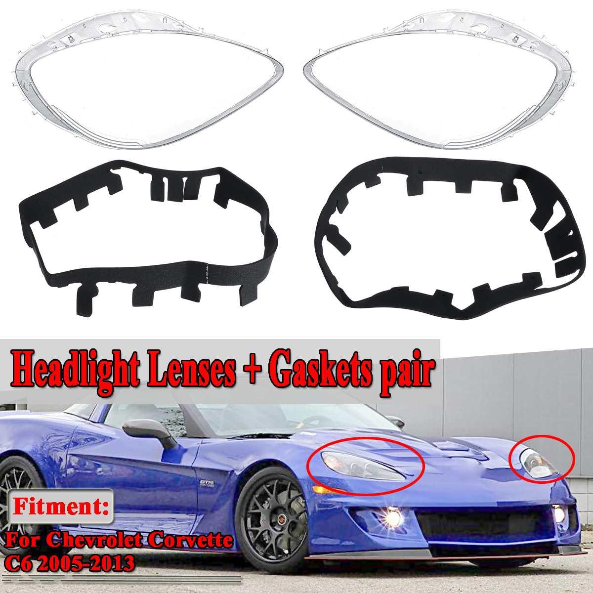 Een Paar Auto Koplamp Lens Koplamp Lenzen Cover Trim Vervangen + Pakkingen Kits Voor Chevrolet Voor Corvette C6 2005 2013