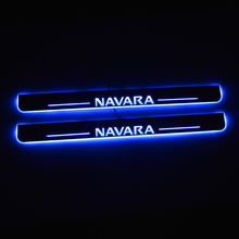 LED Door Sill For Nissan Navara NP300 2015 2016 2017 2018 Door Scuff Plate Pathway Pedal Threshold Welcome Light Car Accessories