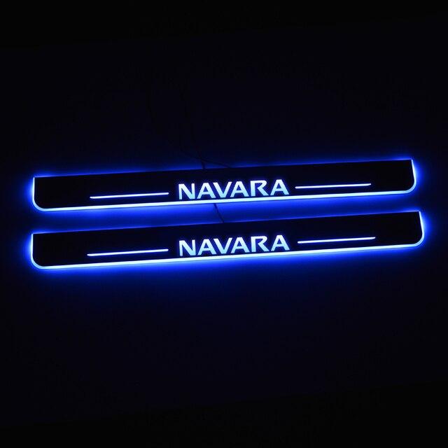 Đèn LED Gắn Cửa Dành Cho Xe Nissan Navara NP300 2015 2016 2017 2018 Cửa Scuff Đĩa Con Đường Bàn Đạp Ngưỡng Hoan Nghênh Bạn Đã Đèn Xe Ô Tô phụ Kiện