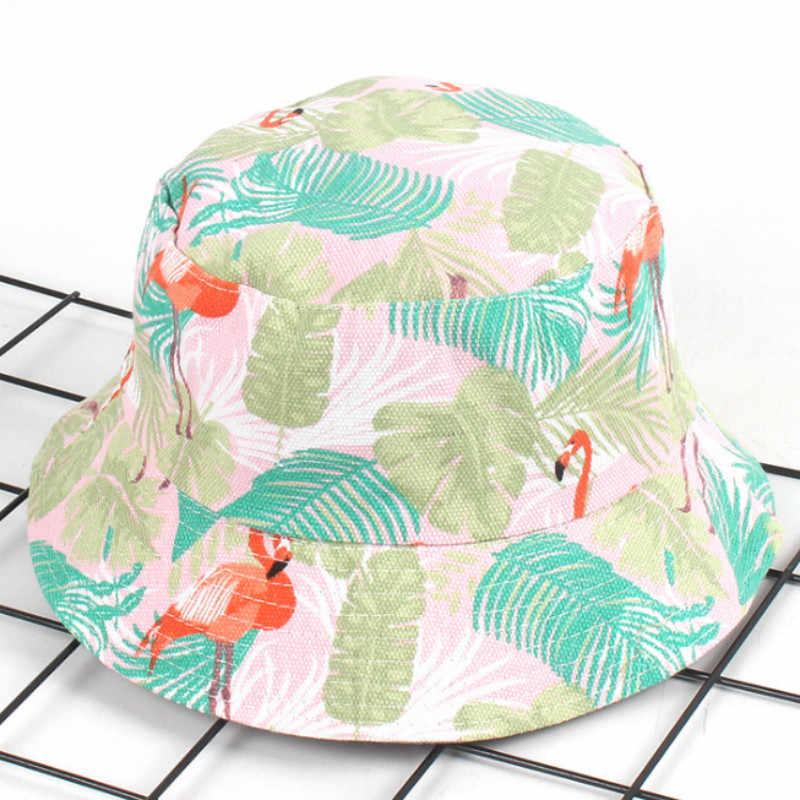 Flamingo kapelusz typu Bucket dla kobiet bawełna drukowana ptak Panama sport piesze wycieczki rybacy kapelusz przeciwsłoneczny odwracalne wędkowanie Sunhat mężczyźni Bob