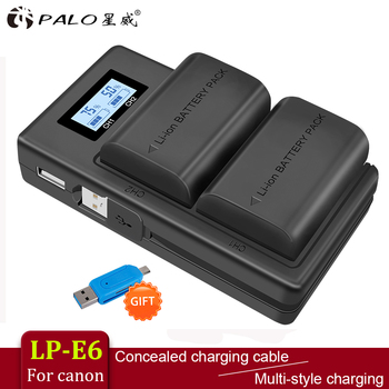 цена на PALO 2pc LP-E6 LP-E6N LP E6 Battery Cell+LCD USB Dual Charger for Canon EOS 6D 7D 5D Mark II III IV 5D 60D 60Da 70D 80D 5DS 5DSR