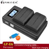 PALO 2pc LP-E6 LP-E6N LP E6 batería + LCD Dual USB cargador para Canon EOS 6D 7D 5D Mark II III IV 5D 60D 60Da 70D 80D 5DS 5DSR
