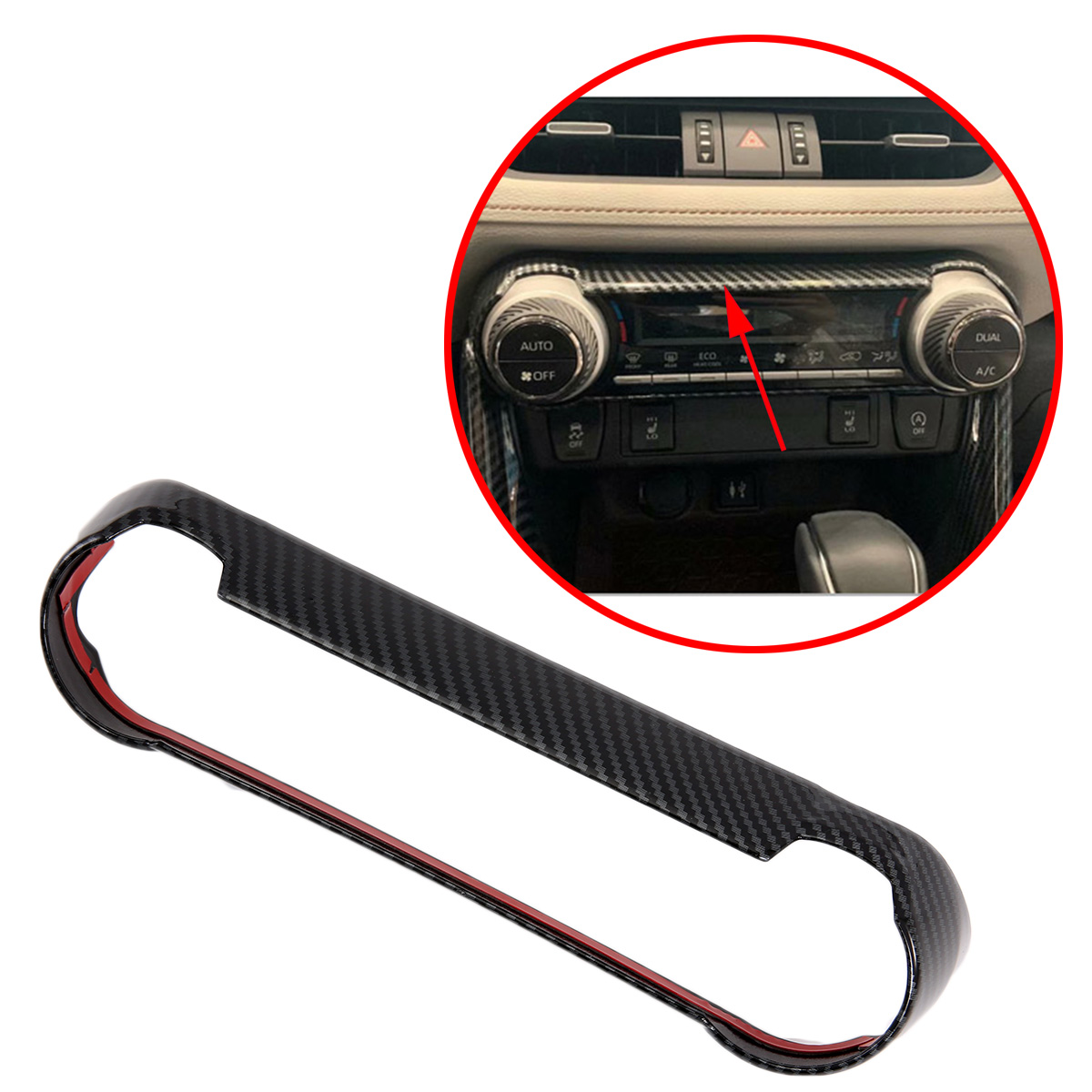 Carbon Fiber Center Dashboard Air Conditioning Vent Outlet Cover Fit For Toyota <font><b>RAV4</b></font> 2019 <font><b>2020</b></font> AC Trim Frame Accessories image