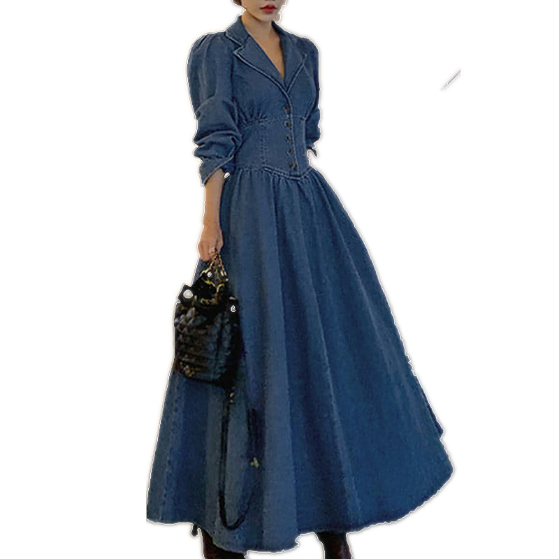 Spring Autumn Vintage Puff Sleeve Denim Dress Women V-neck High Waist Slim Big Swing Long A-line Dress