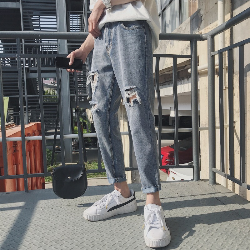 Spring And Summer With Holes Capri Jeans Men's Loose-Fit Skinny Slim Fit Ripped Jeans Hong Kong Style Harem Pants Capri Casual P