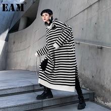 [EAM] женское вязаное платье в полоску большого размера, новинка, круглый вырез, длинный рукав, свободный крой, Мода весна-осень, 1K219