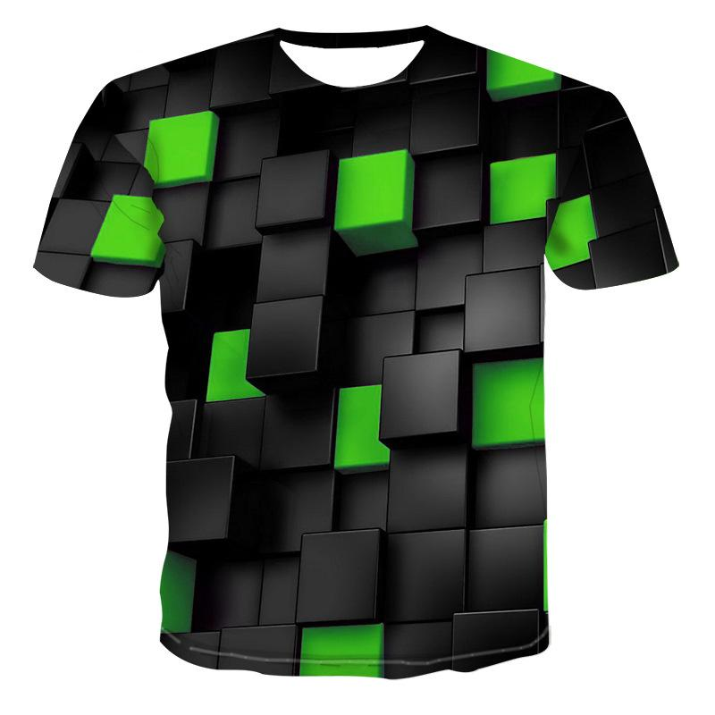 Male Short Sleeve Slim Fit Tops Tees t Mens Geometric 3D Three-dimensional Pattern Digital Printing T-shirt Summer T-shir