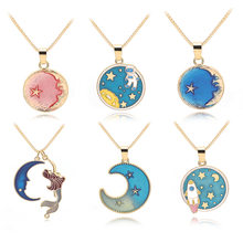 New colorful cartoon ocean starfish Crescent half moon geometry round astronaut space universe sun stars sky necklace jewelry(China)