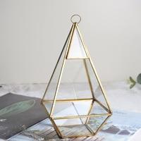 Classic Copper Glass Greenhouse Fat Diamond Shape Succulents Flower Holder Micro Landscape Flowerpot
