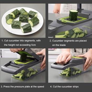 Multifunctional Vegetable Cutter Fruit Slicer Grater Shredders Drain Basket Slicers 8 In 1 Gadgets Kitchen Accessories 5