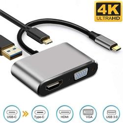 Type-C to HDMI 4K VGA USB C 3.0 Hub Adapter for MacBook iPad Nintendo Huawei xioami 10 Projector TV HD Conversion Cable