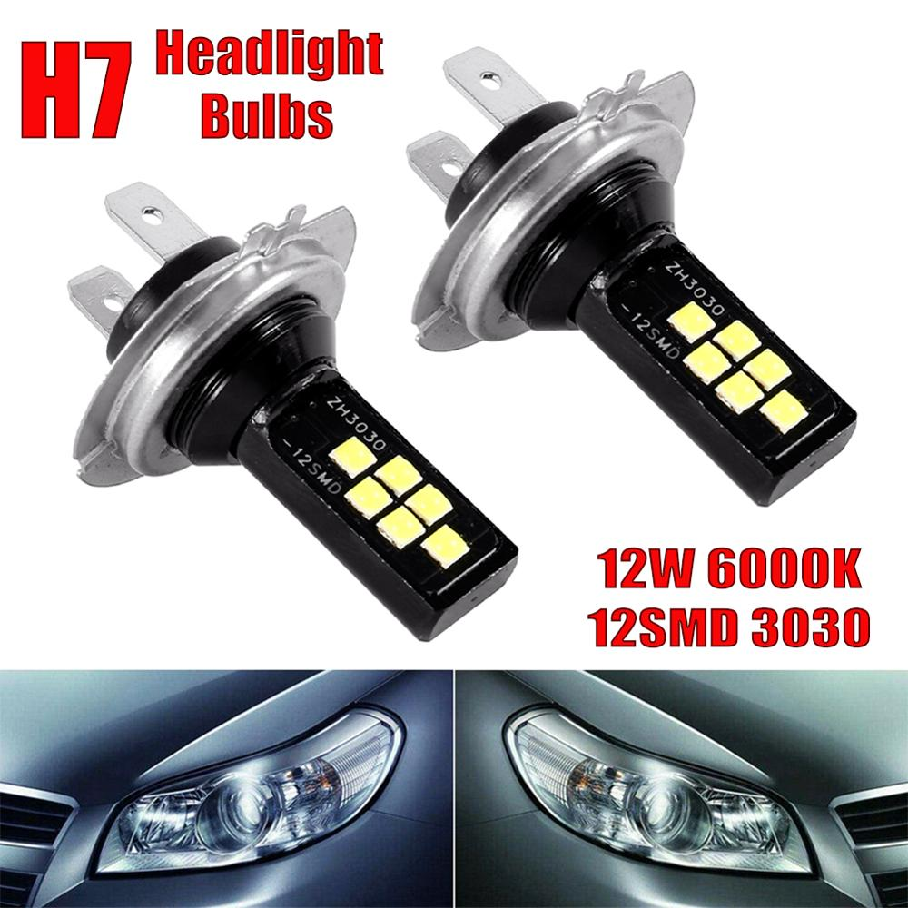2pcs H7 LED Car Anti-fog Light Bulb 12W 6000K 1200LM Car Headlight Bulb 12SMD 3030 Led  Car Accessories