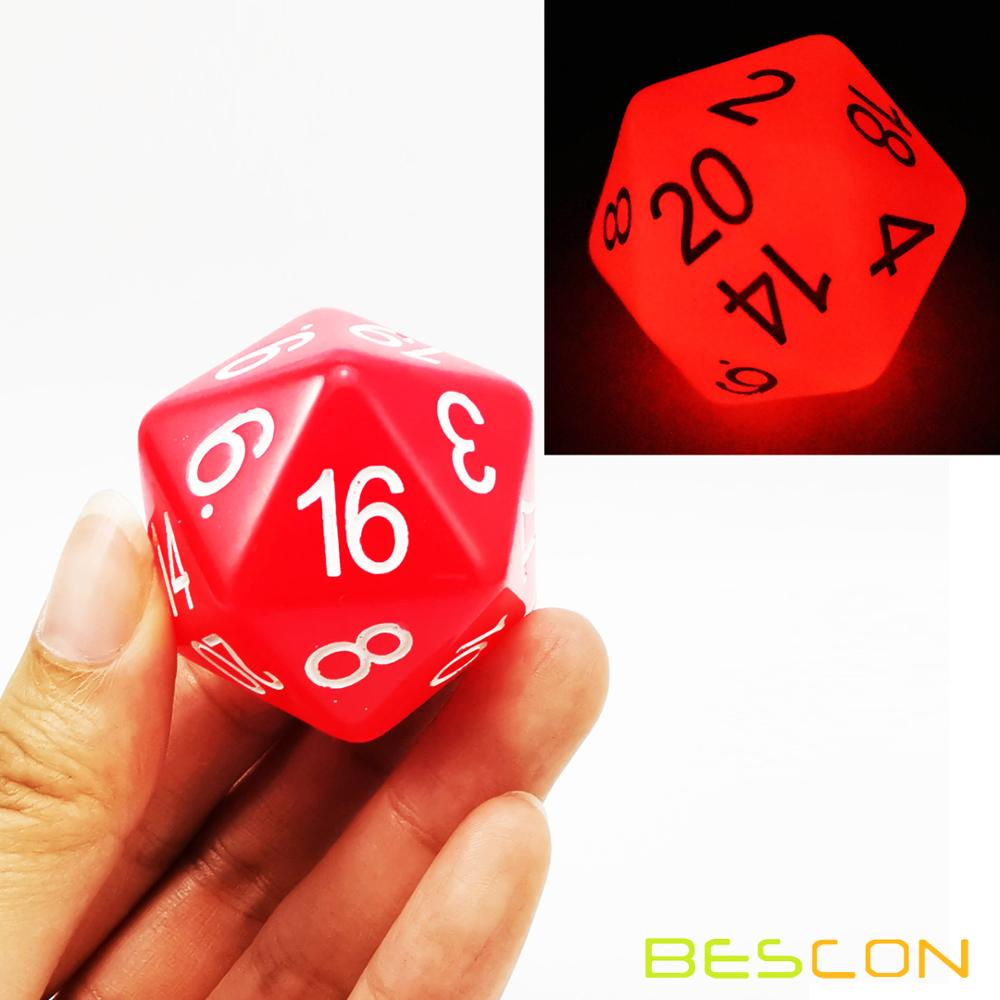 Bescon Jumbo Glowing D20 38MM, Big Size 20 Sides Dice 1.5 inch, Big 20 Faces Cube in Various Solid, Glitter, Glowing Colors 13