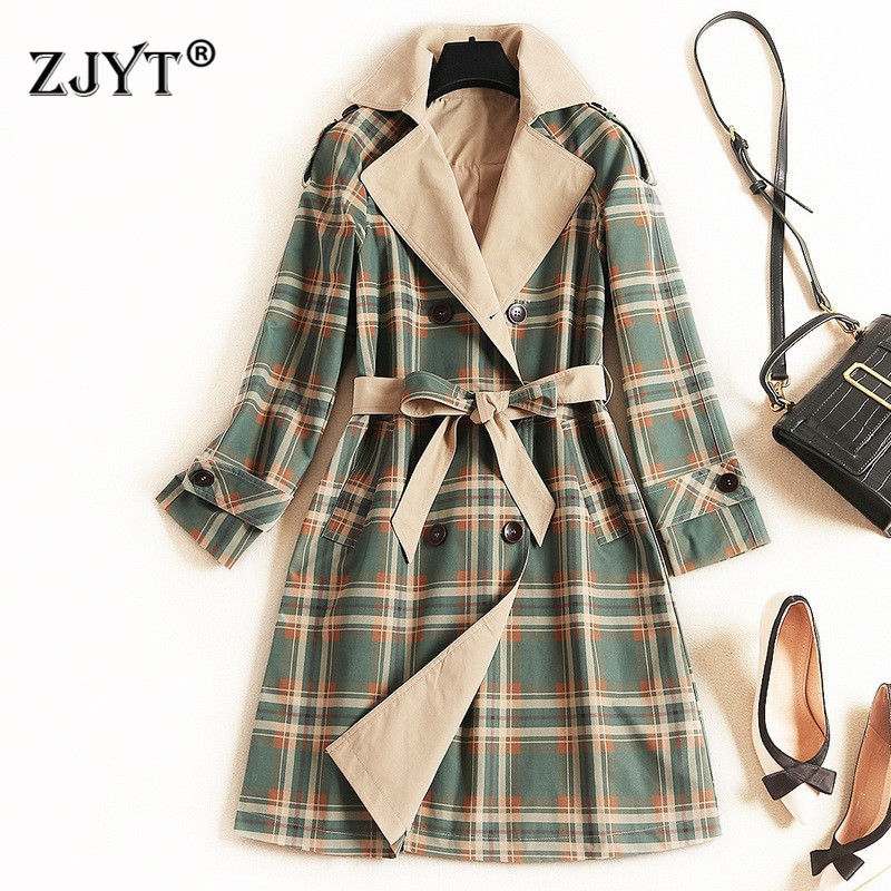 Autumn Winter Long   Trench   Coat for Women 2019 British Style Fashion Long Sleeve Turn Down Collar Plaid Print Coats Outerwear