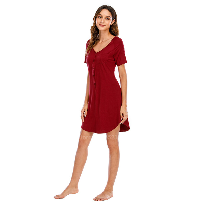 2020 Summer New Women's Nightgown Button Closure Modal Elastic Soft Comfy Thin Night Dress Short Sleeve American Sleepwear