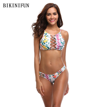 New Sexy Floral Print Bikini Women Swimsuit Hollow Braided Bathing Suit S-XL Girl High Neck Swimwear Low Waist Micro Bikini Set