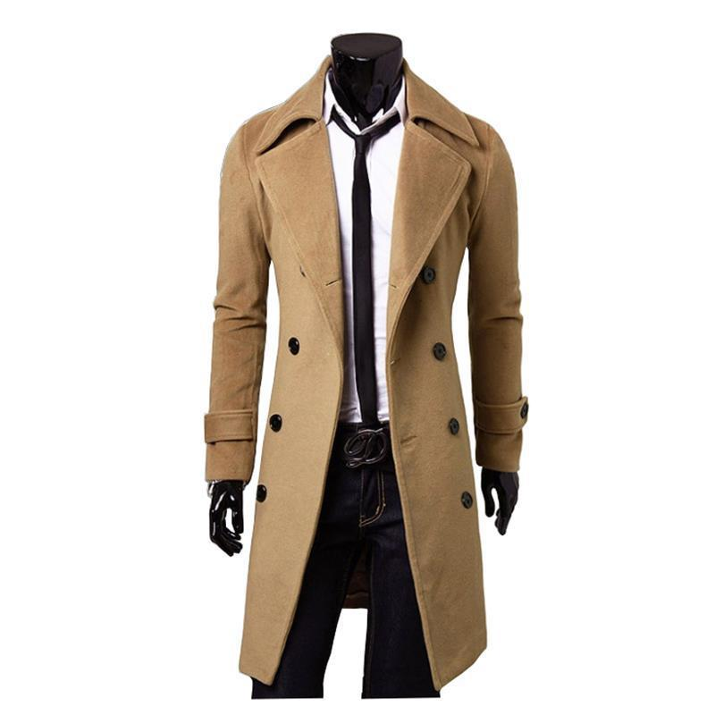 Hot Selling Mid-length Double-breasted Men's Woolen Coat Fashion Casual Slim Fit Men's Duffle Coat Direct Supply