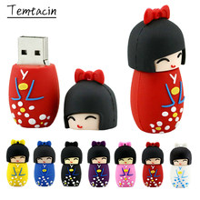 Cartoon Kimono Japanische Puppe USB 2,0-Stick 128GB USB-Stick 64GB 32GB 16GB 8GB pen Drive 256GB Cle USB Memory Stick Disk