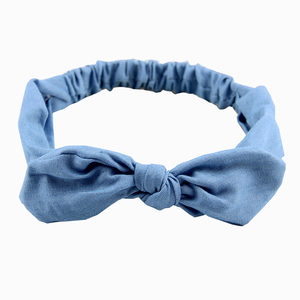 Women Headband Solid Color Small Flower HairbandDenim Bow Headband Rabbit Ears Hair Accessories Knotted Elastic Hair Bands