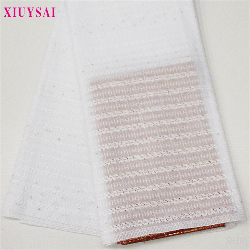 Pure White African Swiss Voile Lace Fabric High Quality 2020 Embroidery Dry cotton Lace Fabric 5 Yards Nigerian Lace Fabric SK96