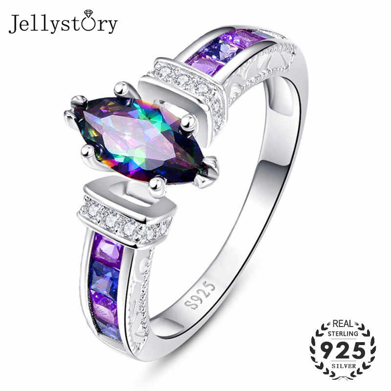 Jellystory Fashion Oval Shape Rings with Colorful Topaz Gemstones 925 Sterling Silver Jewelry Ring for Women Wedding Party Gifts