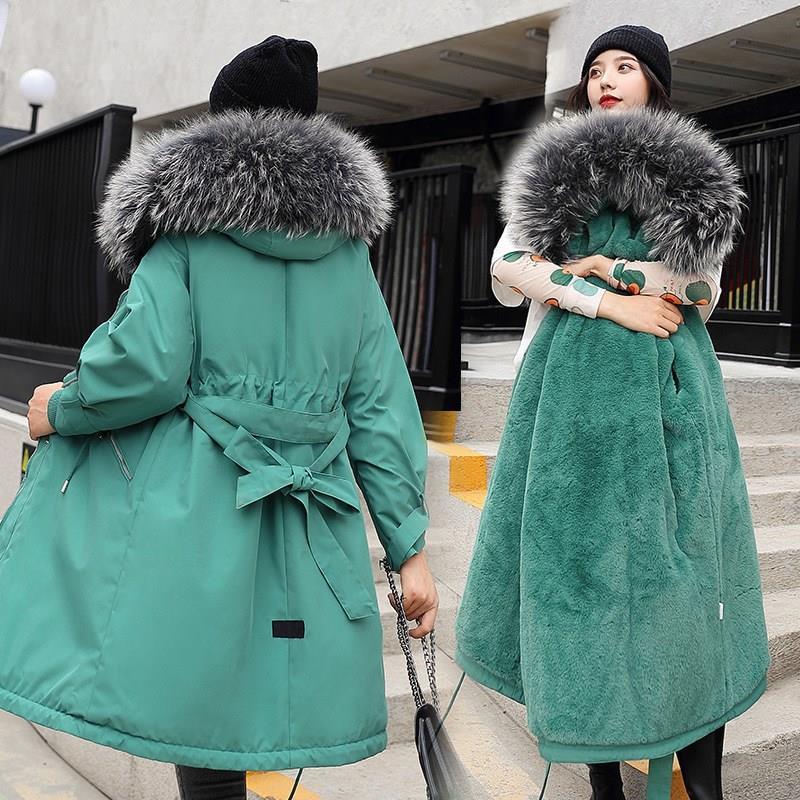 2019 coton doublure manteau chaud et imperméable veste femmes grande taille mince Long manteau femme hiver grande fourrure à capuche Parka