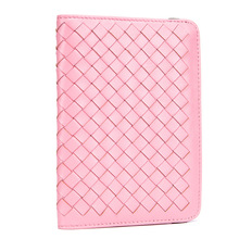 Fashion Thin Passport Cover Men Women Traveling Genuine Leather Sheepskin Woven ID Card Holder Lady Credit Cards Case