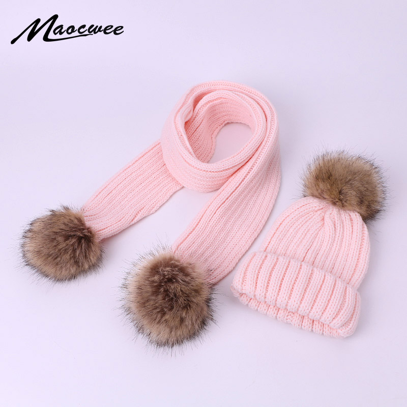 Two-piece Scarf Hat Set For Children Women Beanies Faux Fur PomPon Knitted Skullies Hats Autumn And Winter Warm Solid Color Caps