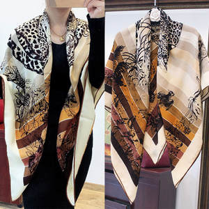 Velvet Scarf Cashmere Shawl Silk Leopard-Print Warm Thin Comfortable KMS Love-In-The-Jungle