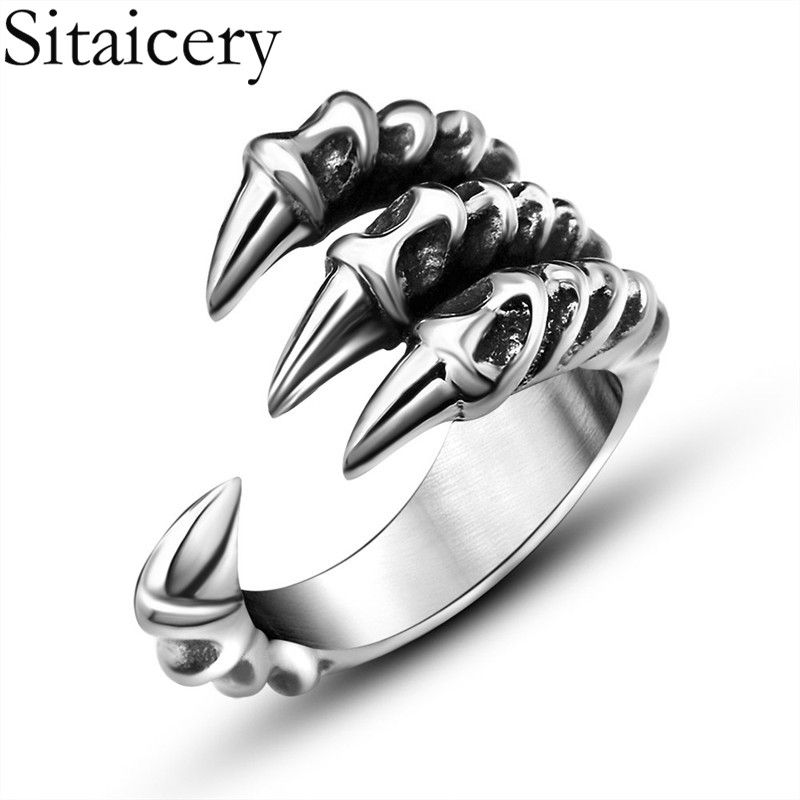 Sitaicery Retro Dragon Claw Ring Men Stainless Steel Adjustable Rings Punk Men's Jewelry Accessories Cool Men's Ring Party Gift