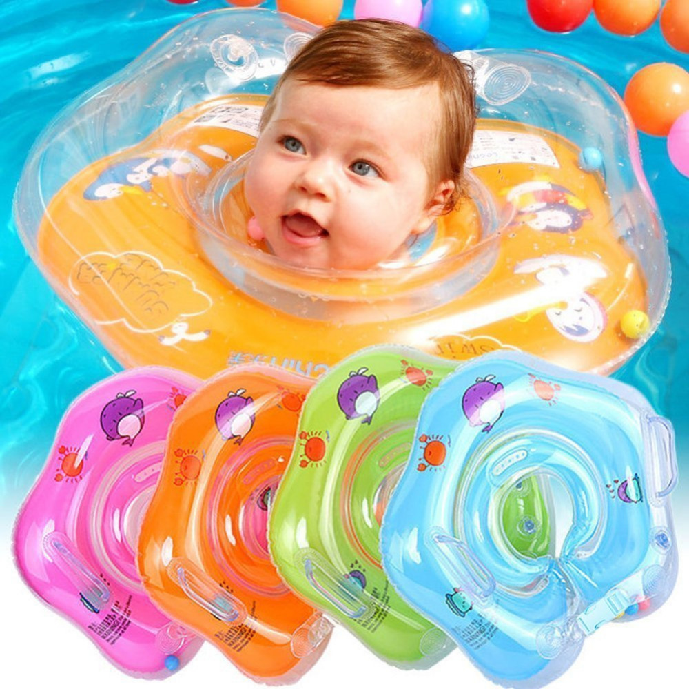 Baby Swimming Accessories Neck Ring Tube Safety Infant Float Circle For Bathing Inflatable Flamingo Inflatable Water Dropship
