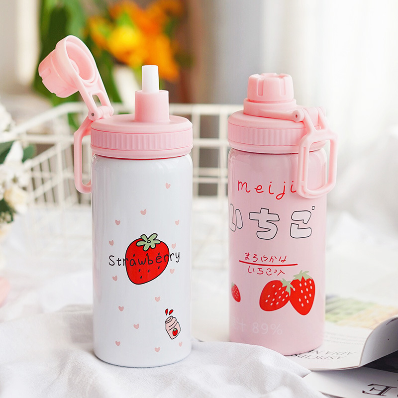 Image 4 - 400ML Cute Pink Strawberry Water Bottle New Kawaii Stainless Steel Thermos Bottle With Straw Birthday Gift For Girl WomenVacuum Flasks & Thermoses   -