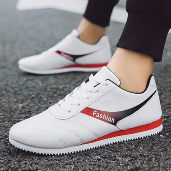 Men Fashion Sneakers Promotion Casual Shoes Man High Quality Leather PU Soft Comfortable Run Shoes Male Loafers Student Trainers недорого