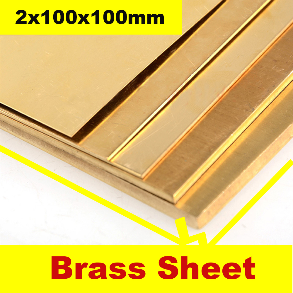 H62 Brass Sheet 2x100x100mm Brass Plate Customized Size Material Laser Cutting CNC Frame Model Mould DIY Contruction Brass Pad