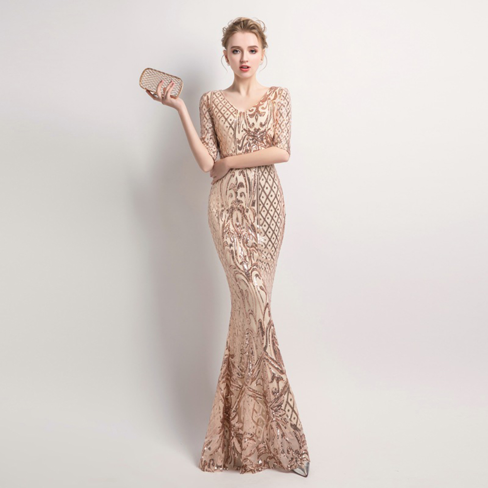 Half-sleeve V-neck Mermaid Sequined Evening Dress Gold Floor-Length Vestidos Black Elegant Formal Gown XUCTHHC New Party Dress
