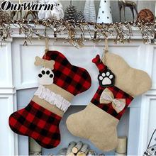 OurWarm Big Buffalo Plaid Puppy Dog Christmas Stocking 42cm*26cm Cotton and Burlap Bone Gift Bags for