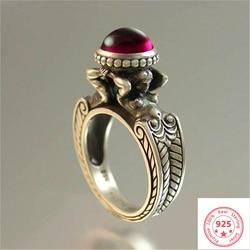 Damga 925 gümüş pırlanta yakut yüzük kadınlar ve erkekler için kırmızı Topaz yakut daire Anillos Bizuteria düğün taş gümüş 925 takı