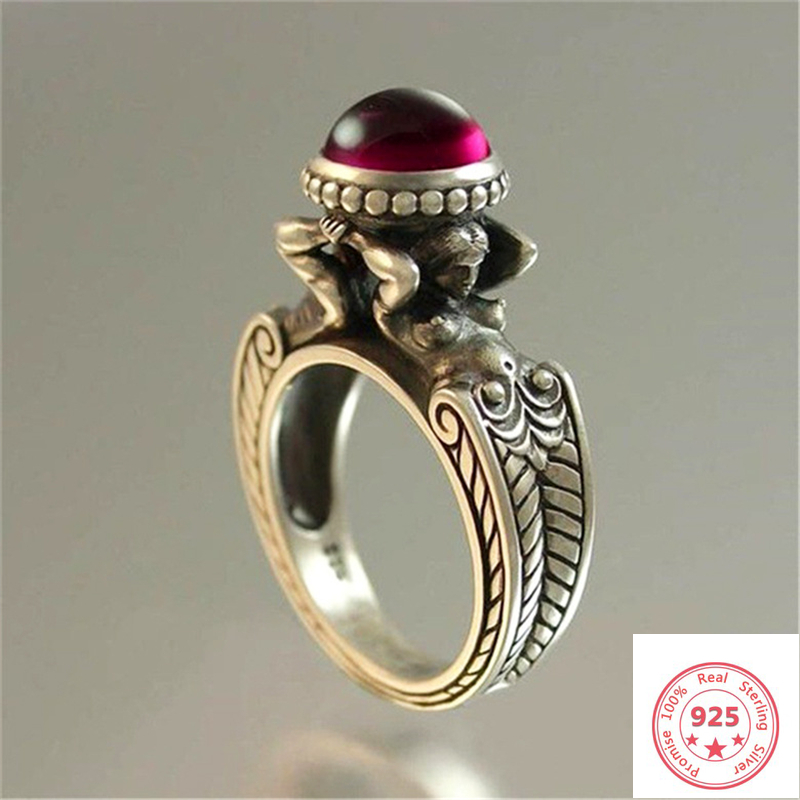 Stamp 925 Sliver Diamond Ruby Ring For Women And Men Red Topaz Ruby Cirle Anillos Bizuteria Wedding Gemstone Silver 925 Jewelry