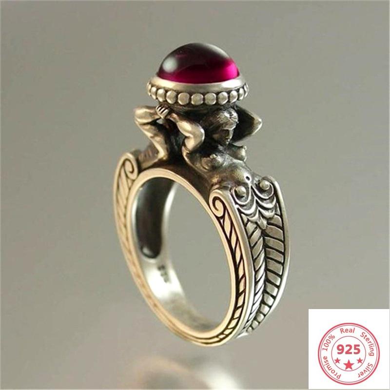 Timbre 925 argent diamant rubis bague pour femmes et hommes topaze rouge rubis Cirle Anillos Bizuteria mariage pierre précieuse argent 925 bijoux