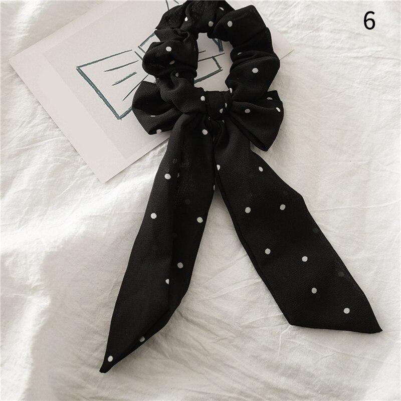 Femmes banderoles chouchous à pois imprimé Floral élastique noeud cheveux corde fille cheveux cravates coréen doux cheveux accessoires chapeaux 30