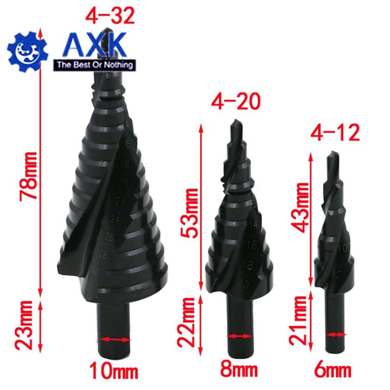 3PCS 4-32MM HSS Cobalt Step Drill Bit Set Nitrogen High Speed Steel Spiral For Metal Cone Triangle Shank Hole Cutter