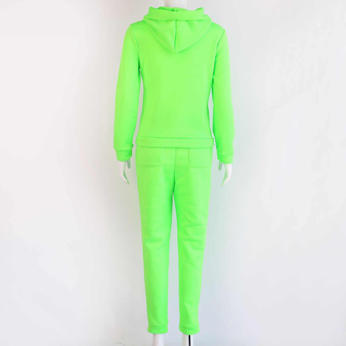 Neue Herbst Trainingsanzug Solide Rosa Neon Grün Zwei Stück Set 2019 Langarm Hoodie + Lange Hosen Schweiß Anzüge Frauen 2 stück Outfits