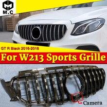 Fit For Mercedes W213 Sport GT R style Grille grill ABS Black With camera E Class E200 E250 E300 E350 E400 E500 look grills 16+ цена в Москве и Питере