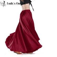 Barato cetim saia dança do ventre traje feminino saias ciganas dançarina prática wear 12 cores sortidas sólido roxo preto frete grátis