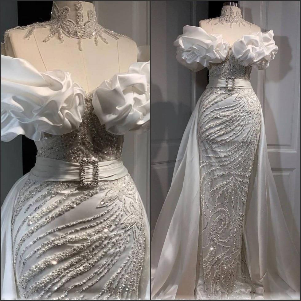 Stunning Sheath Overskirts Prom Dresses 2020 Luxury Beading Off Shoulder Long Evening Dress Turkey Arabic Formal Gown Plus Size
