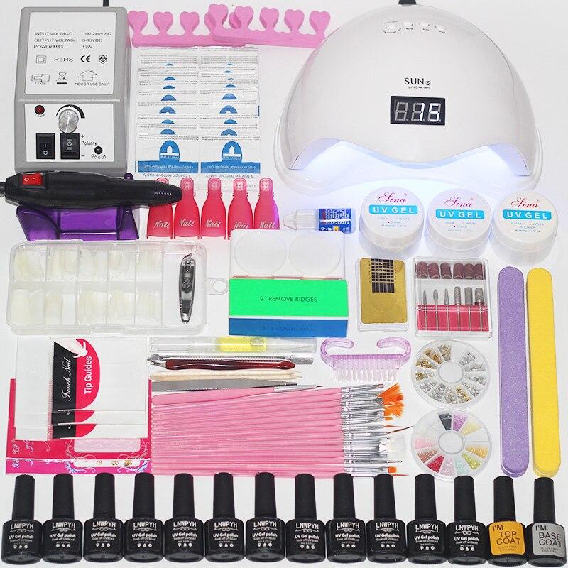 Nail Set 36W/48W/54W UV LED Lamp Dryer With Nail Gel Polish Kit Soak Off Manicure Set Gel Nail Polish For Nail Art Tools