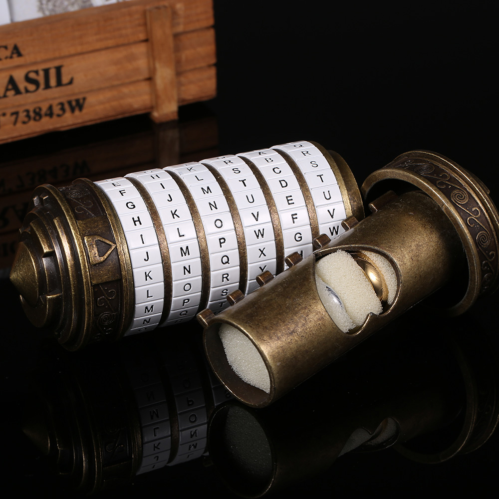Image 4 - Da Vinci Code Lock Toys Metal Cryptex Locks Retro Wedding Gifts Valentine's Day Gift Letter Password Escape Chamber Props-in Locks from Home Improvement