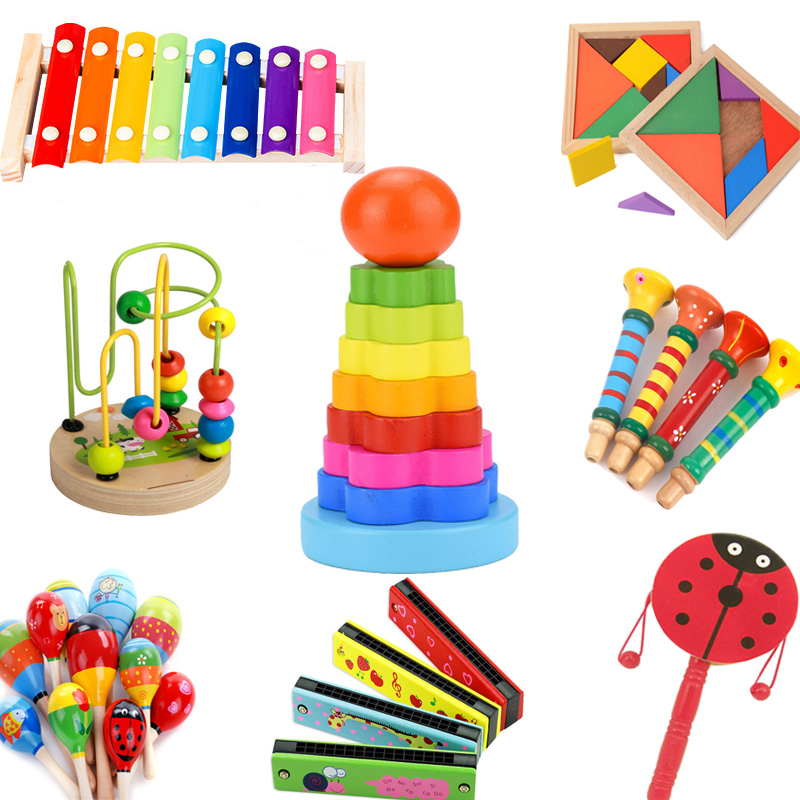 DIY Children's Educational Early Childhood Funny Toys Baby Wooden Montessori Xylophone Sand Hammer Harmonica Colorful Baby 1PCS